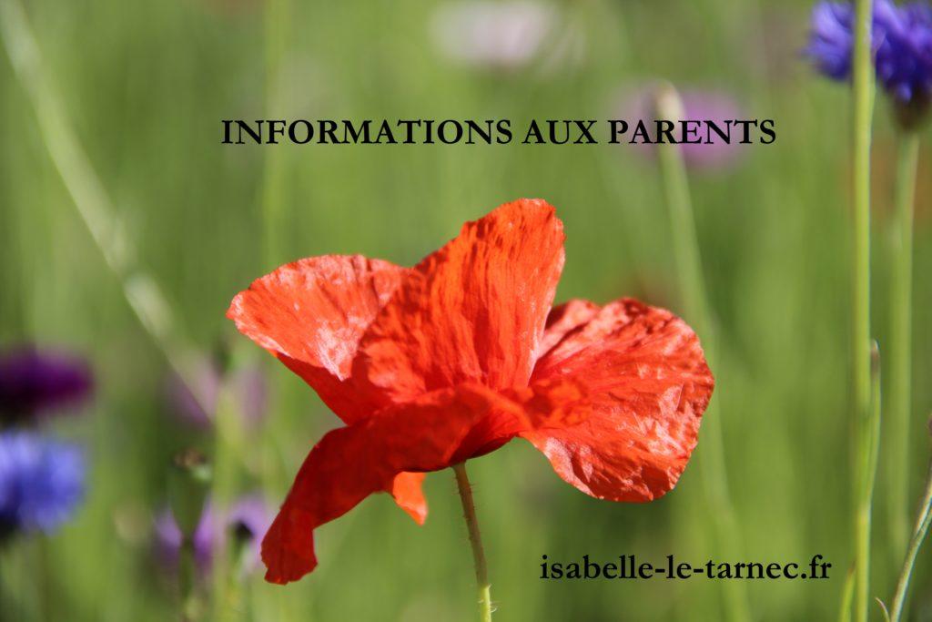 Infos aux parents