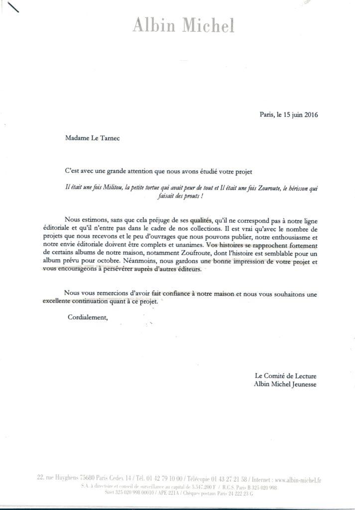 réponse Albin Michel 17.06.16